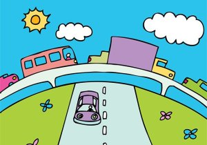 cars on highway illustration